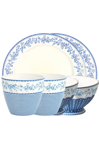 Greengate 6pc Breakfast Set, Blue Floral