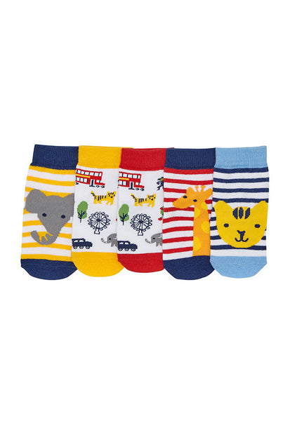 John Lewis Baby London Zoo Socks, Pack of 5