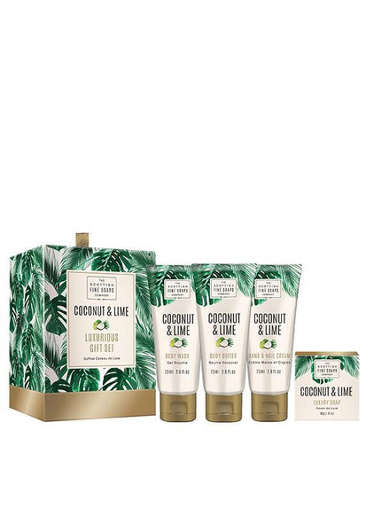 Scottish Fine Soaps Luxurious Gift Drums Set, Coconut & Lime
