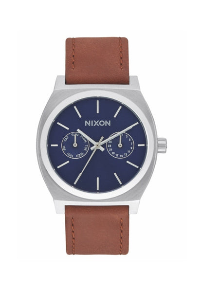 Nixon The Time Teller Deluxe Leather Navy Watch, Tan
