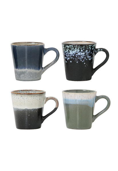 HK Living 70's Ceramics Espresso Mug, 4PC set