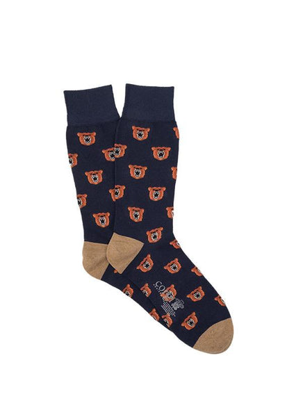 Corgi Angry Bear Regular Socks, Navy