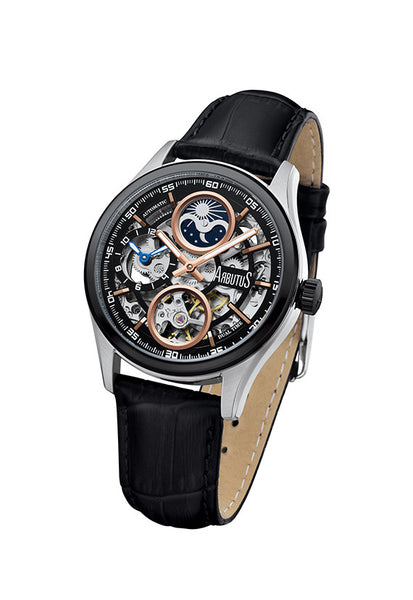 Arbutus 1606TBBB Dual-time Skeleton Watch, Black