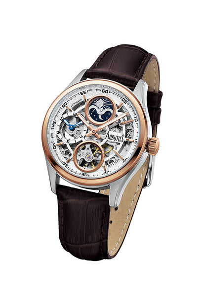 Arbutus 1606TRWF Dual-time Skeleton Watch, Rose Gold