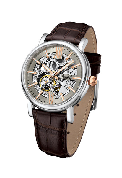 Arbutus 911SFF Classic Skeleton Watch, Silver