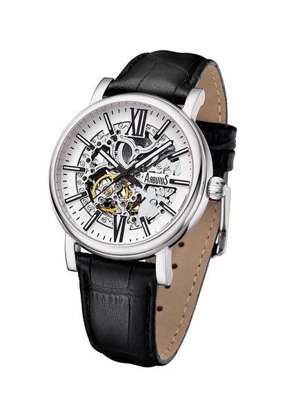 Arbutus 911SWB Classic Skeleton Watch, Silver