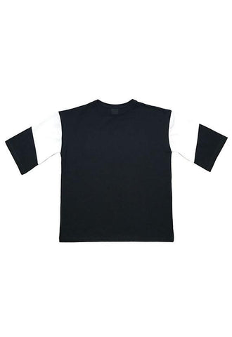 Evenodd Block Sleeve Tee, Black