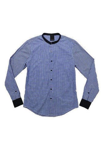 Evenodd Checks Stand Collar, Blue