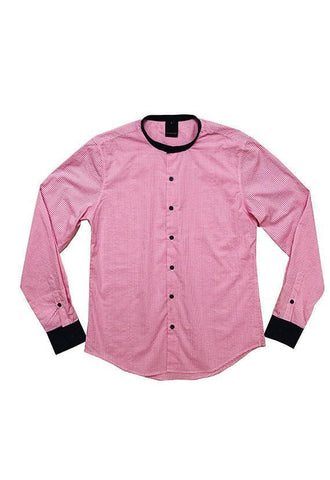 Evenodd Checks Stand Collar, Pink