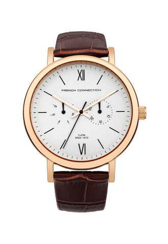 French Connection Harley Watch, Brown/RoseGold