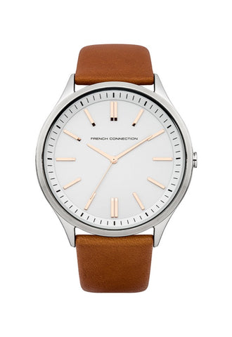 French Connection Modern Unisex Watch, Tan