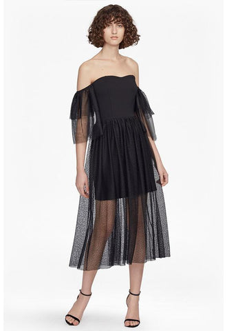 French Connection Valentin Sheer Jersey Off Shoulder Midi Dress