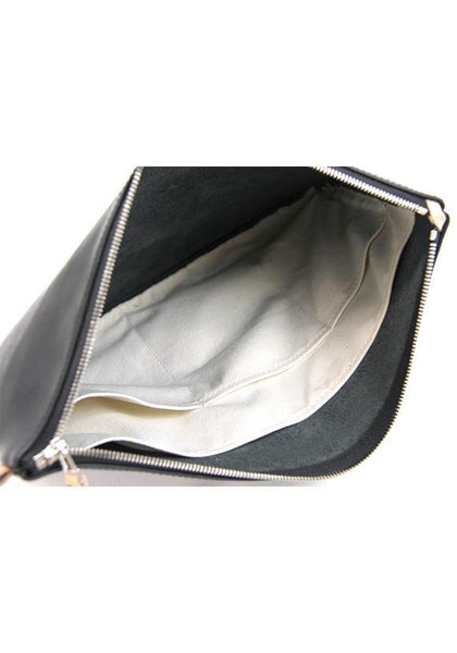 Buddy Fang Leather Clutch Smooth, Black