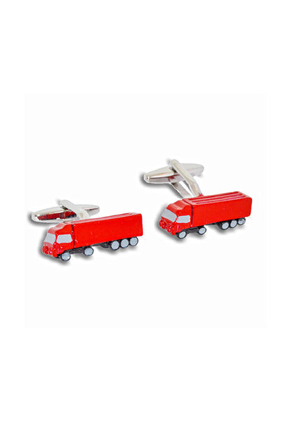 A.Azthom Red Fire Engine Enamel Cufflinks