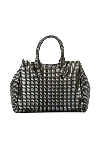 Gianni Chiarini Houndstooth Medium Handbag, Black & Silver