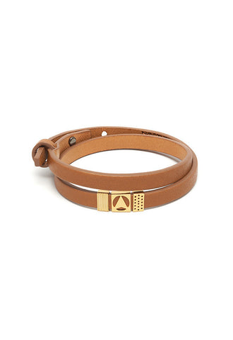 Northskull Insignia Double Wrap Bracelet in Tan and Gold