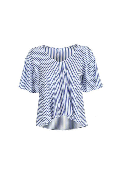 Imperial Fashion A-line Flare Sleeves Top, Blue