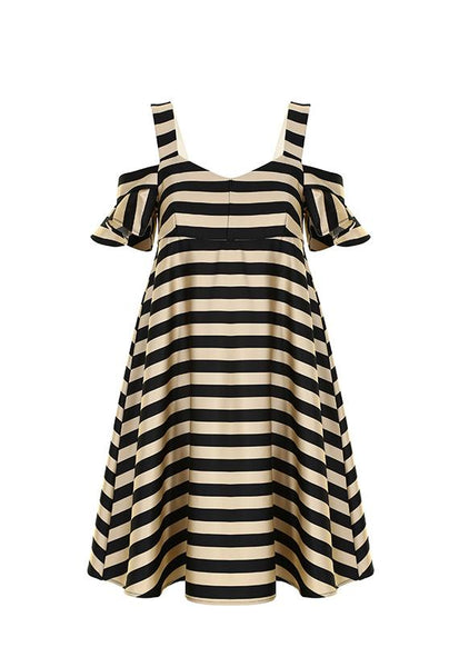 Imperial Fashion Cold Shoulder Striped Babydoll Dress