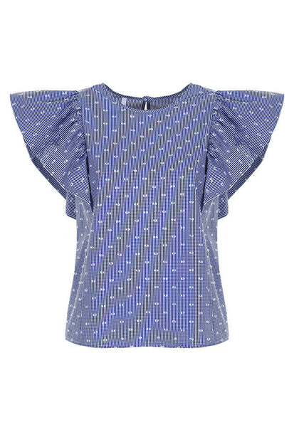 Imperial Fashion Dotted Flutter Sleeves Top