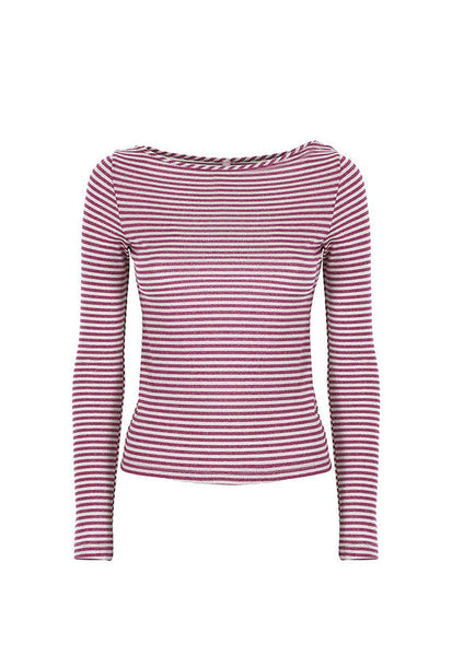 Imperial Fashion Lurex Stripe T-Shirt, Red
