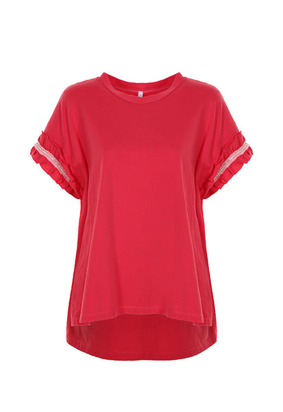 Imperial Fashion Oversized Rouches T-Shirt, Red