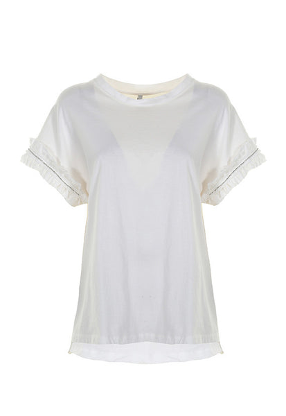 Imperial Fashion Oversized Rouches T-Shirt. White