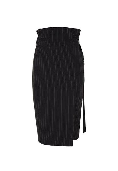 Imperial Fashion Pinstripes Wrap Pencil Skirt