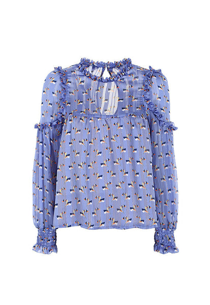 Imperial Fashion Stripe Floral Top, Blue