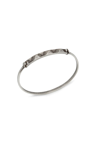 Northskull In 'n' Out Tag Bangle in Aged Silver