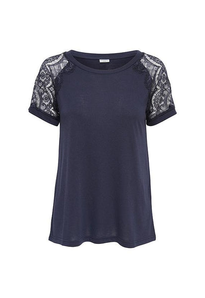 Jacqueline de Yong Cut-Out Lace Sleeves Top, Night Sky