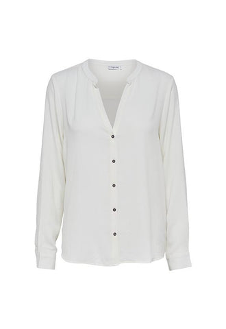 Jacqueline de Yong Flat Collar Classic Blouse, Cloud Dancer
