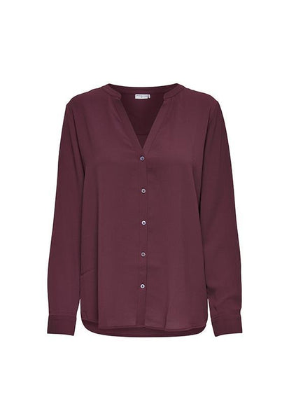 Jacqueline de Yong Flat Collar Classic Blouse, Vineyard Wine