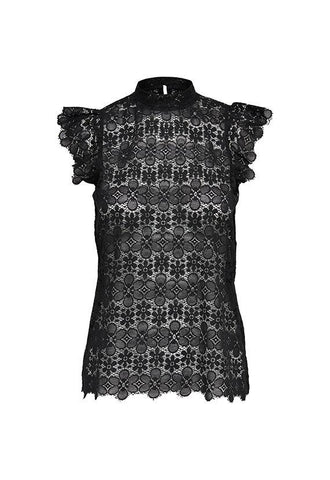 Jacqueline de Yong High-Neck Lace Top, Black