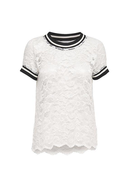 Jacqueline de Yong Lace Tshirt Top, Cloud Dancer