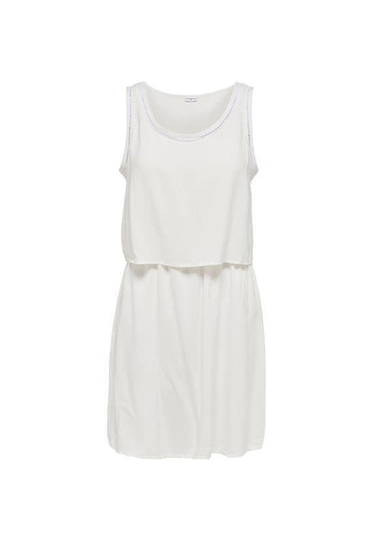 Jacqueline de Yong Layered Tank Dress, Cloud Dancer