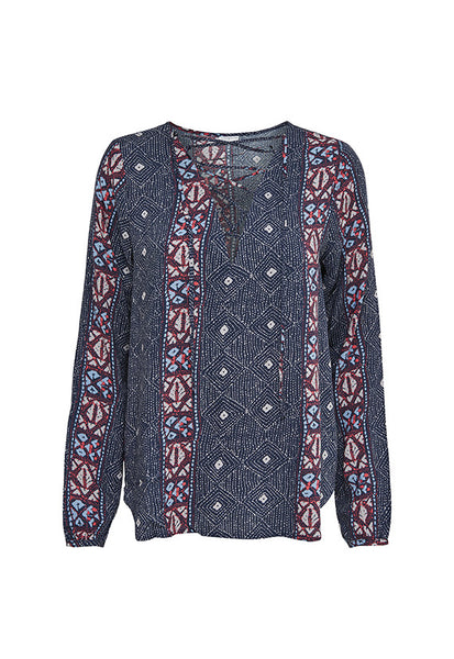 Jacqueline de Yong Long Sleeves Lace Up Top, Aztec Prints