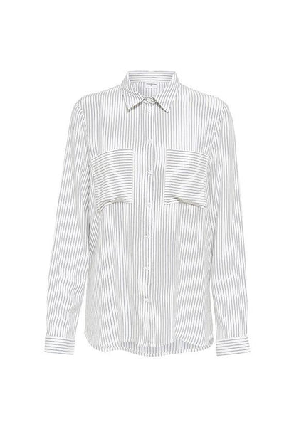 Jacqueline de Yong Long Sleeves Pinstripe Shirt, Cloud Dancer