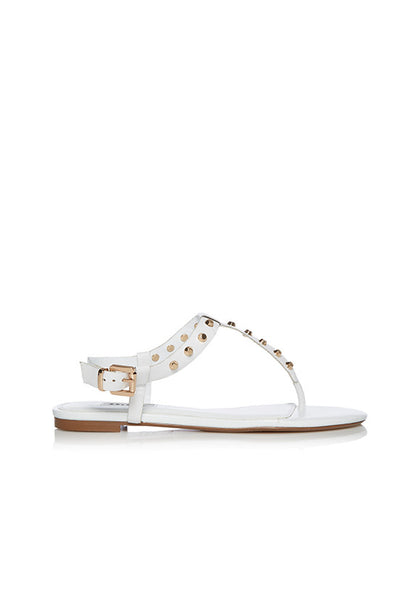 Dune Laciee Studded Flat Sandals, White