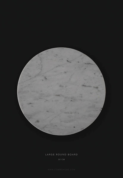 Comme Home White Round Marble Board, Large