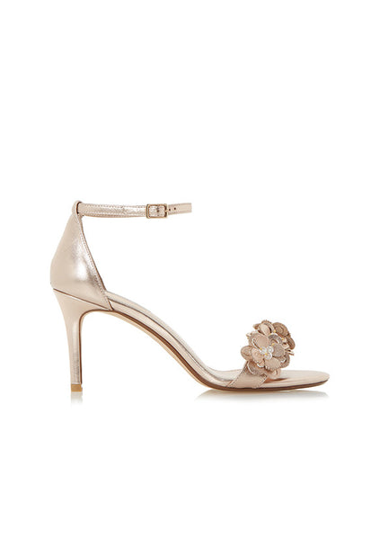 Dune Magnolea Heels W Applique, Rose Gold