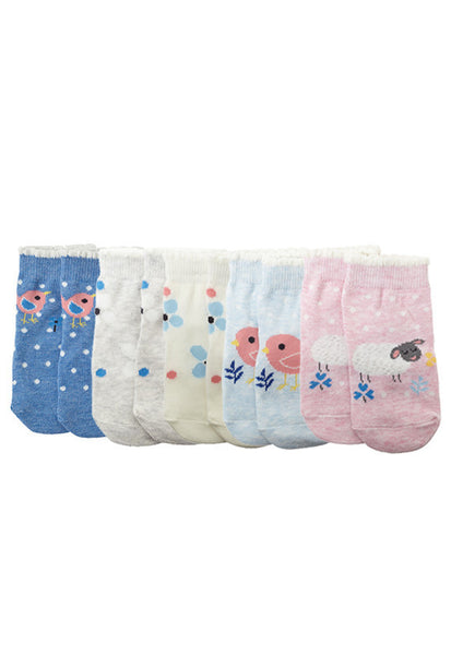 John Lewis Baby Sheep and Birds Character Socks, Pack of 5