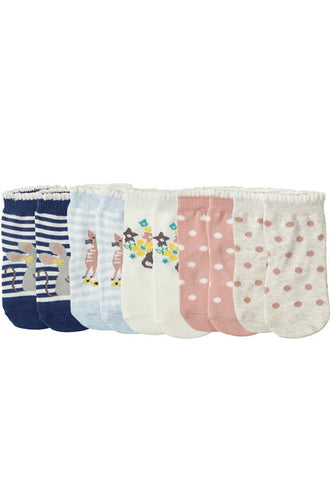 John Lewis Baby Cat and Mouse Character Socks, Pack of 5