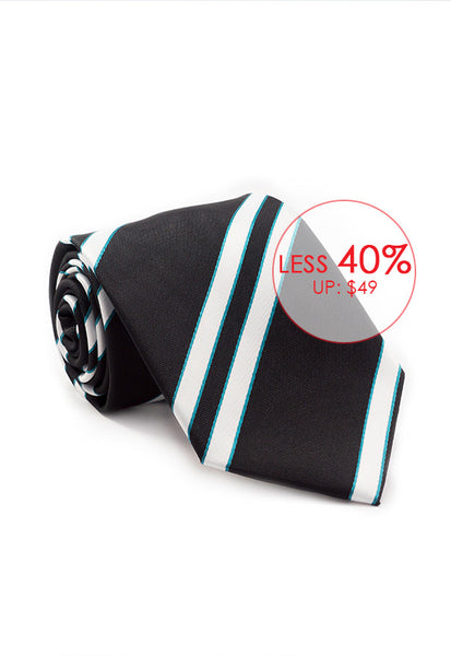 Marzthomson Black with White Stripe Tie