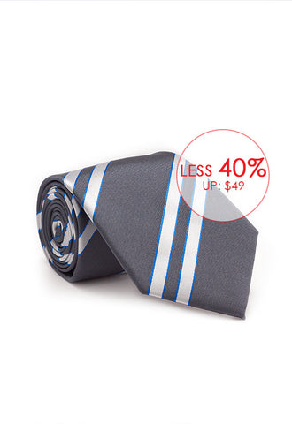 Marzthomson Grey with White Stripe Tie