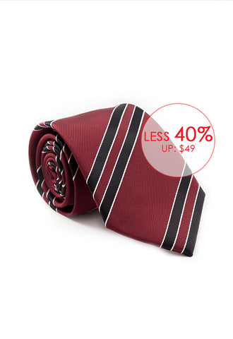 Marzthomson Maroon with Black Stripe Tie