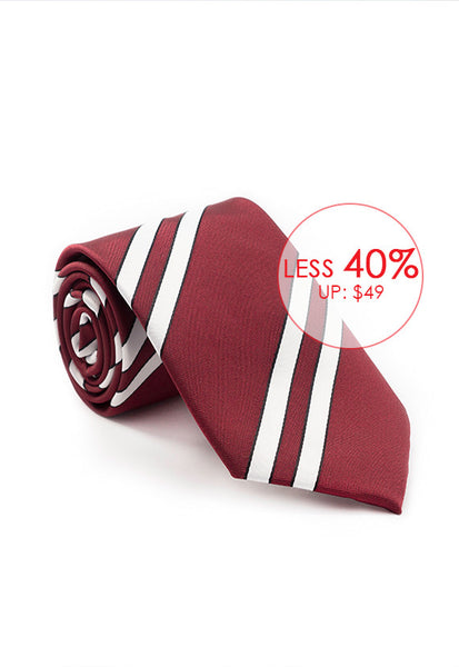 Marzthomson Maroon with White Stripe Tie