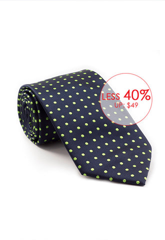 Marzthomson Navy with Green Polka Dot Tie