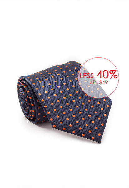 Marzthomson Navy with Orange Polka Dot Tie