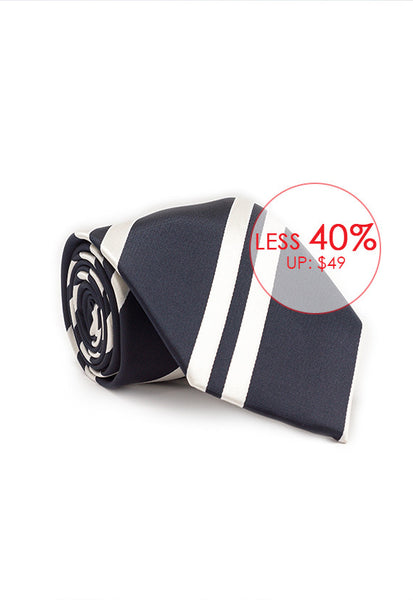 Marzthomson Navy with White Stripe Tie