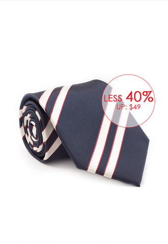 Marzthomson Navy with White and Maroon Stripe Tie